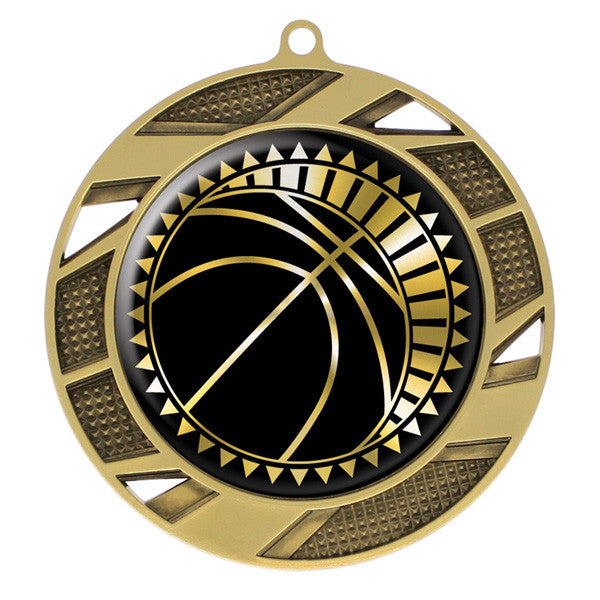 "Basketball Medallion - Solar Series Medal - Gold 2 3/4"" Diameter (A2202) - Quest Awards"