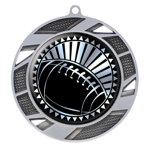 "Football Medallion - Solar Series Medal - Silver 2 3/4"" Diameter"