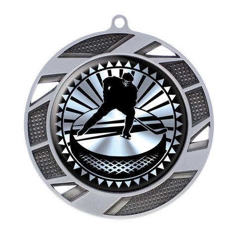 "Hockey Medallion - Solar Series Medal - Silver 2 3/4"" Diameter (A2619) - Quest Awards"
