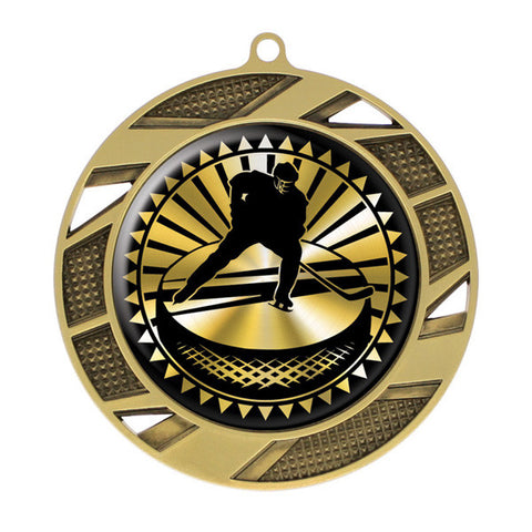"Hockey Medallion - Solar Series Medal - Gold 2 3/4"" Diameter (A2618) - Quest Awards"