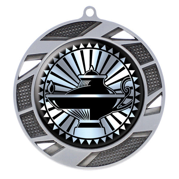 "Lamp Of Knowledge Medallion - Solar Series Medal - Silver 2 3/4"" Diameter"