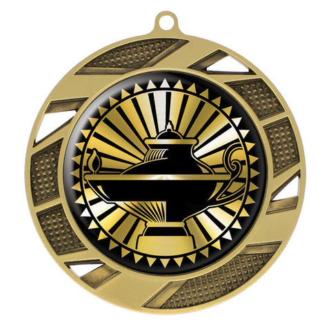"Lamp of Knowledge Medallion - Solar Series Medal - Gold 2 3/4"" Diameter (A2768) - Quest Awards"