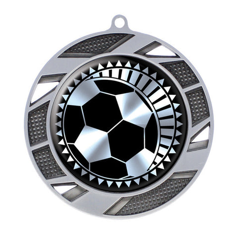 "Soccer Medallion - Solar Series Medal - Silver 2 3/4"" Diameter - Quest Awards"