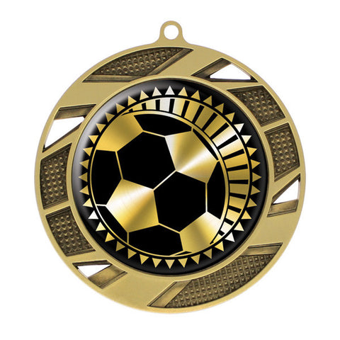 "Soccer Medallion - Solar Series Medal - Gold 2 3/4"" Diameter (A2988) - Quest Awards"