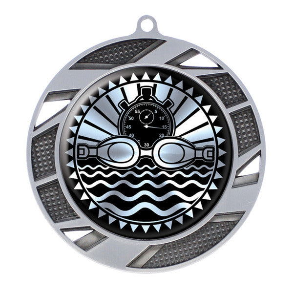 "Swimming Medallion - Solar Series Medal - Silver 2 3/4"" Diameter (A3090) - Quest Awards"