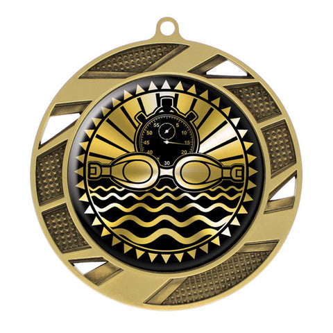 "Swimming Medallion - Solar Series Medal - Gold 2 3/4"" Diameter (A3089) - Quest Awards"