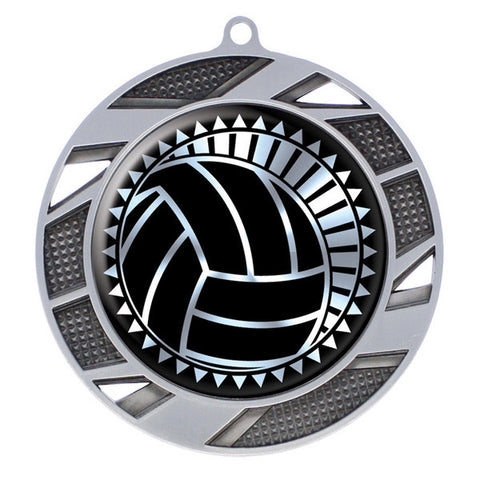 "Volleyball Medallion - Solar Series Medal - Silver 2 3/4"" Diameter"
