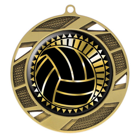 "Volleyball Medallion - Solar Series Medal - Gold 2 3/4"" Diameter"