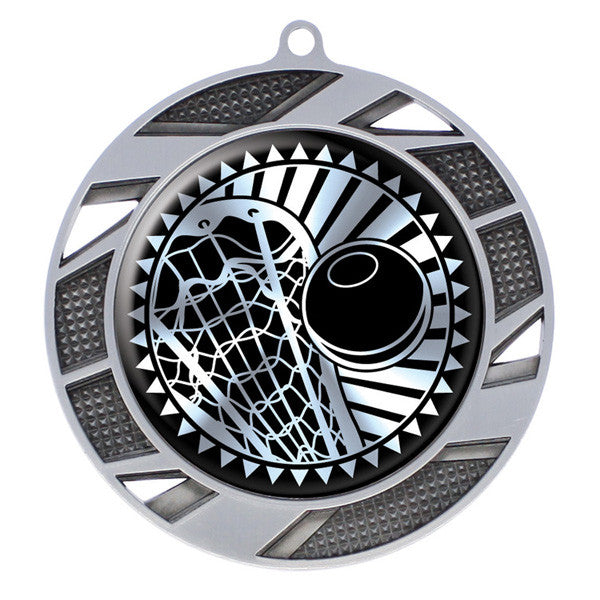 "Lacrosse Medallion - Solar Series Medal - Silver 2 3/4"" Diameter (A2748) - Quest Awards"