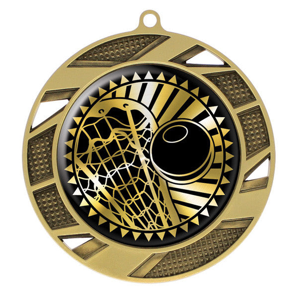 "Lacrosse Medallion - Solar Series Medal - Gold 2 3/4"" Diameter (A2747) - Quest Awards"