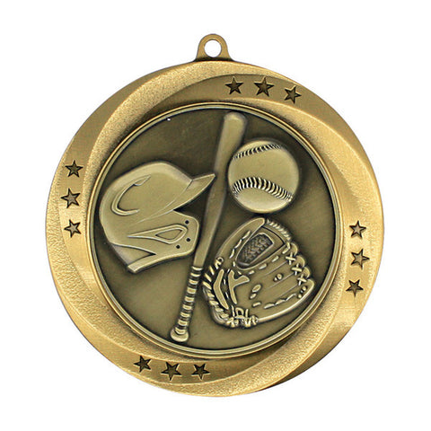 "Baseball Medallion - Matrix Series Medal, 2 3/4"" Diameter (A2162) - Quest Awards"