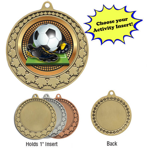 "Medallion - Insert Medal - MapleLeaf - 2 3/4"" Diameter Holds 2"" Activity Insert - Quest Awards - 1"