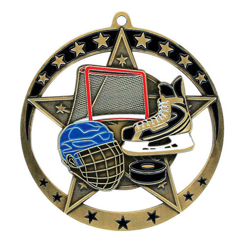 "Hockey Medallion - Star Series 2 3/4"" Diameter (A2622) - Quest Awards"