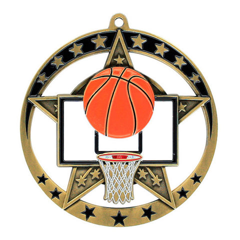 "Basketball Medallion - Star Series 2 3/4"" Diameter (A2205) - Quest Awards"