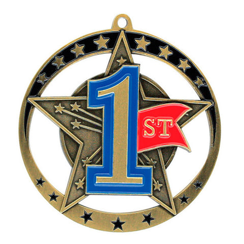 "Achievement Medallion - Star Series 1st Place - 2 3/4"" Diameter (A2027) - Quest Awards"