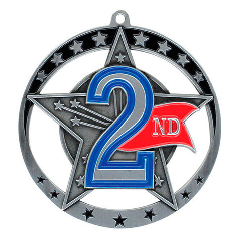 "Achievement Medallion - Star Series 2nd Place - 2 3/4"" Diameter (A2028) - Quest Awards"
