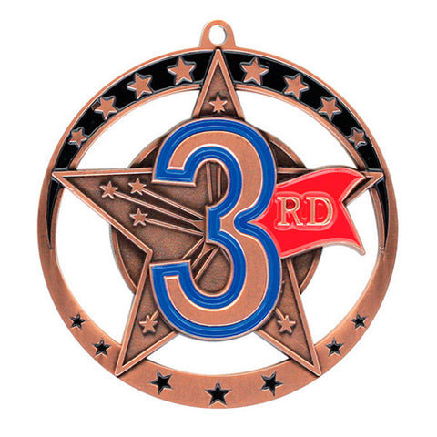 "Achievement Medallion - Star Series 3rd Place - 2 3/4"" Diameter (A2029) - Quest Awards"