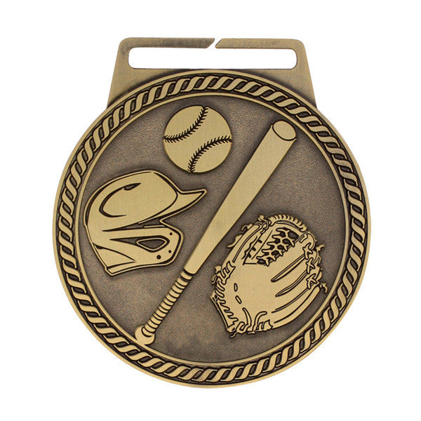 "Baseball Medallion - Titan Series - Wide Ribbon - 3"" Diameter (A2167) - Quest Awards"