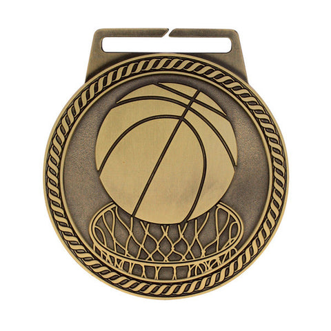 "Basketball Medal - Titan Series - Wide Ribbon - 3"" Diameter - Quest Awards"