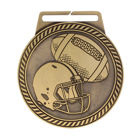 "Football Medal - Titan Series - Wide Ribbon - 3"" Diameter (A2421) - Quest Awards"