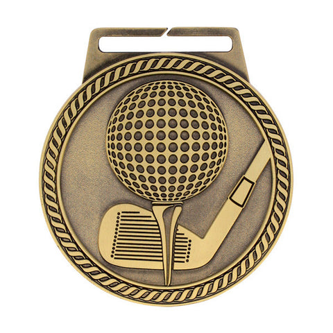 "Golf Medal - Titan Series - Wide Ribbon - 3"" Diameter (A2572) - Quest Awards"