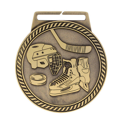 "Hockey Medal - Titan Series - Wide Ribbon - 3"" Diameter - Quest Awards"