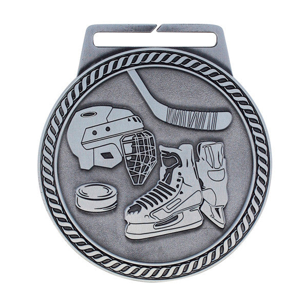 "Hockey Medal - Titan Series - Wide Ribbon - 3"" Diameter (A2611) - Quest Awards"