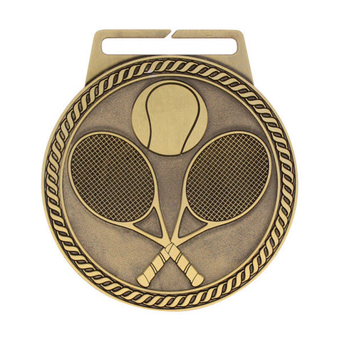 "Tennis Medal - Titan Series - Wide Ribbon - 3"" Diameter (A3113) - Quest Awards"