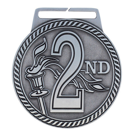 "2nd Place Medal - Titan Series - Wide Ribbon - 3"" Diameter"