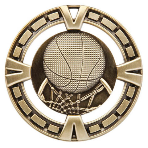 "Basketball Medallion - Varsity Sports Medals - 2 1/2"" Diameter"