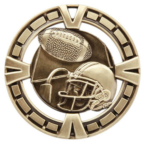 "Football Medallion - Varsity Sports Medals - 2 1/2"" Diameter (A2432) - Quest Awards"