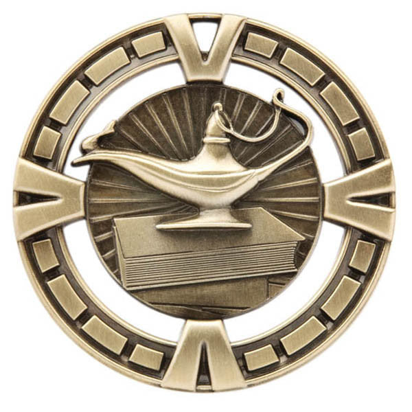 "Lamp of Knowledge Medallion - Varsity Sports Medals - 2 1/2"" Diameter (A2770) - Quest Awards"