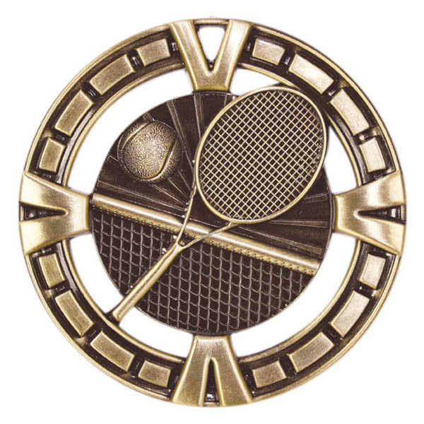"Tennis Medallion - Varsity Sports Medals - 2 1/2"" Diameter"