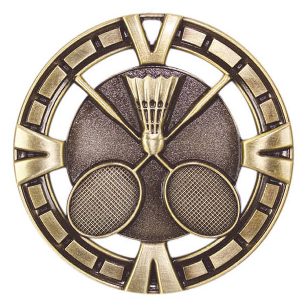 "Badminton Medallion - Varsity Sports Medals -  2 1/2"" Diameter (A2147) - Quest Awards"