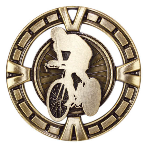 "Cycling Medallion - Varsity Sports Medals  -  2 1/2"" Diameter (A2384) - Quest Awards"