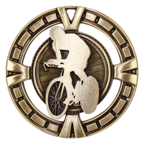"Cycling Medallion - Varsity Sports Medals  -  2 1/2"" Diameter - Quest Awards"