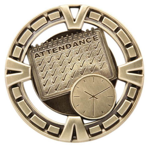 "Perfect Attendance Medallion - Varsity Sports Medals - 2 1/2"" Diameter - Quest Awards"