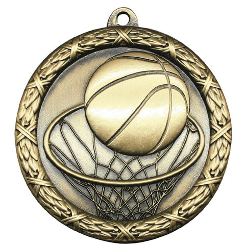 "Basketball Medallion - Classic Heavyweight Medals - 2 1/2"" Diameter (A3780)"