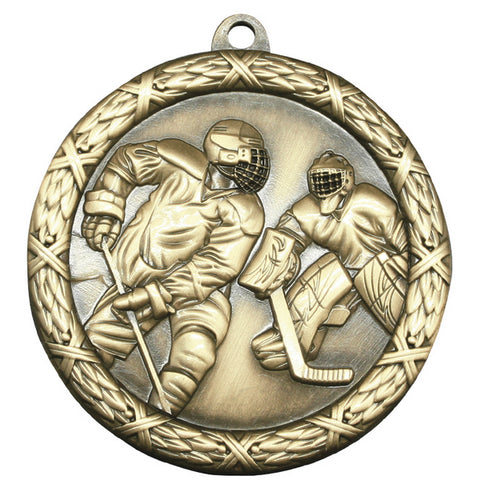 "Hockey Medallion - Classic Heavyweight Medals -  2 1/2"" Diameter (A3781)"