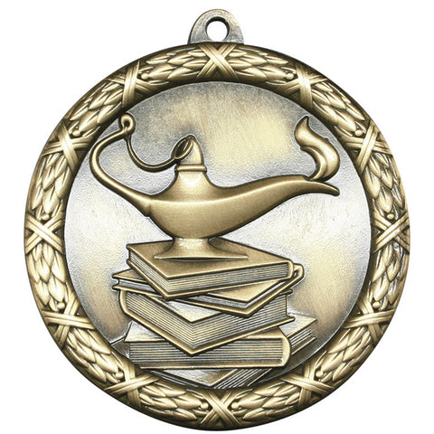 "Lamp of Knowledge Medallion - Classic Heavyweight Medals -  2 1/2"" Diameter (A3782)"