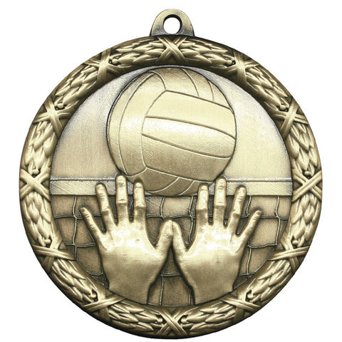"Volleyball Medallion - Classic Heavyweight Medals -  2 1/2"" Diameter (A3786)"