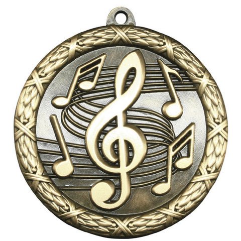 "Music Medallion - Classic Heavyweight Medals -  2 1/2"" Diameter (A3788)"
