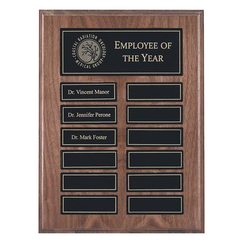 Annual Plaque - Magnetic Plaque - Walnut - 12 Plates - Quest Awards