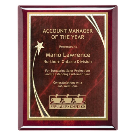 Piano Finish Plaques - Rosewood with designer brass plate (A2903) - Quest Awards