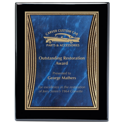 Piano Finish Plaques - Ebony with Designer Brass Plate (A2892) - Quest Awards