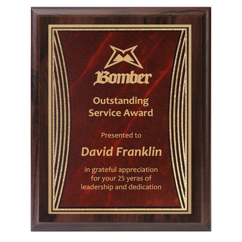 Plaque - Tribute Series Red Marble Plate with Gold Engraving (A2925) - Quest Awards