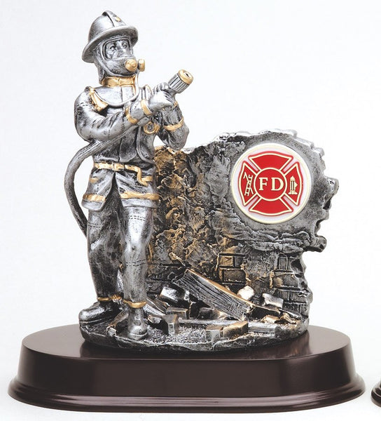 Firefighter Trophy - Silver/Gold Action Figure with Insert - Quest Awards