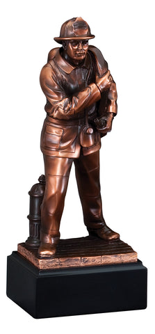 Firefighter Trophy - Bronze Resin Firefighter - Hose - Quest Awards