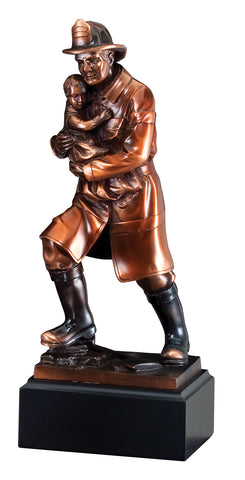 Firefighter Trophy - Bronze Resin Firefighter - Rescue - Quest Awards