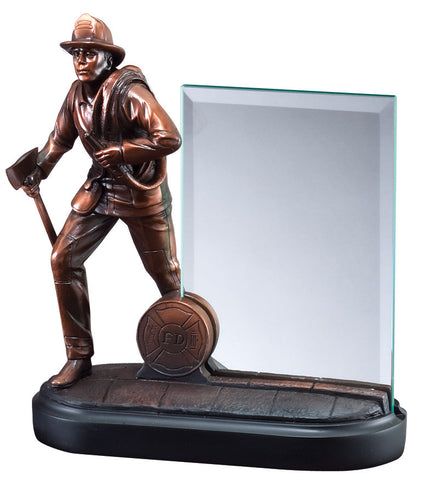 Firefighter Trophy - Bronze Resin with Glass Plate (A2412) - Quest Awards